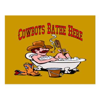 Cowboys Bathe Here Postcard