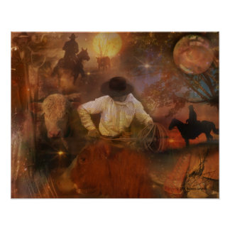 Cowboys - Boots, Horses & Western Sunsets Poster