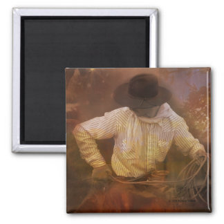 Cowboys - Boots, Wild Horses & Western Sunsets 2 Inch Square Magnet