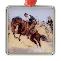 Cowboys - Cowboy Breaking Horse Metal Ornament