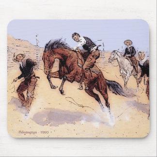 Cowboys - Cowboy Breaking Horse Mouse Pad
