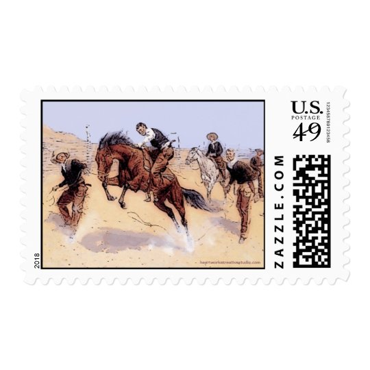 Cowboys - Cowboy Breaking horse Stamp