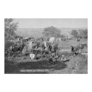Cowboys Eating around a Campsite Photograph Poster