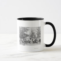 Cowboys Eating Dinner on Ground Under Trees Mug