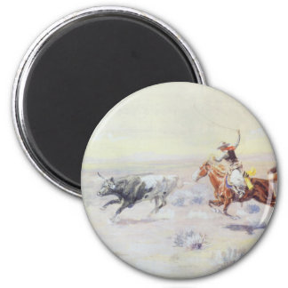 Cowboys from the Bar Triangle by CM Russell 2 Inch Round Magnet