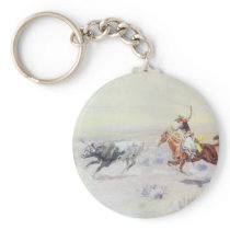 Cowboys from the Bar Triangle by CM Russell Keychain