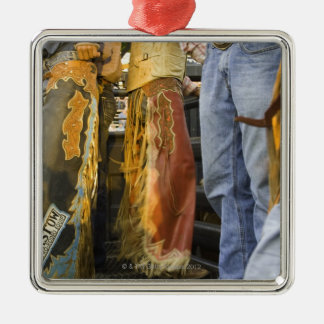 Cowboys in Chaps Square Metal Christmas Ornament