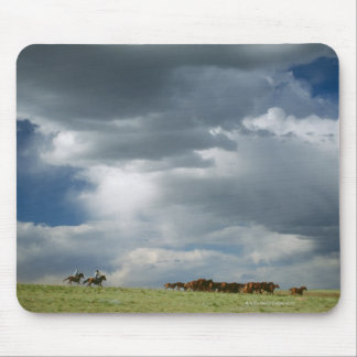 Cowboys moving herd of horses mouse pad