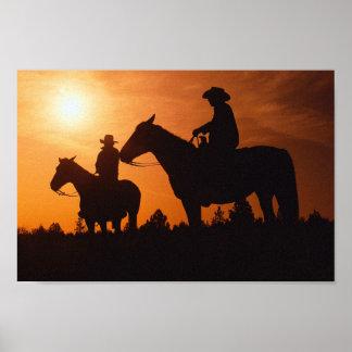 cowboys on horses canvas print