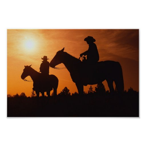cowboys on horses poster