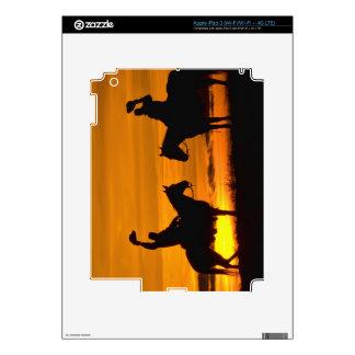 Cowboys on ridge at Sunset Skin For iPad 3