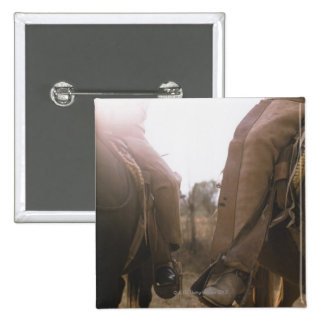 Cowboys Riding Horses 2 Inch Square Button