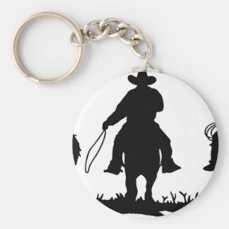 Cowboys Riding Horses Basic Round Button Keychain