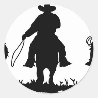 Cowboys Riding Horses Classic Round Sticker