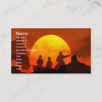 Cowboys riding into sunset western Business Card