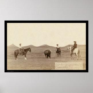 Cowboys Roping A Buffalo SD 1887 Poster