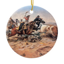 Cowboys roping a steer, 1897 (oil on canvas) ceramic ornament