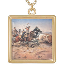 Cowboys roping a steer, 1897 (oil on canvas) gold plated necklace
