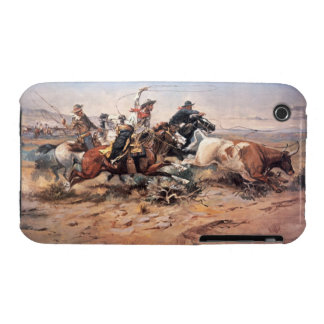 Cowboys roping a steer, 1897 (oil on canvas) iPhone 3 cover
