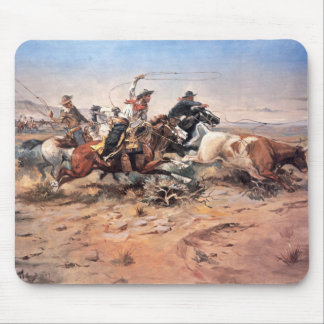 Cowboys roping a steer, 1897 (oil on canvas) mousepads