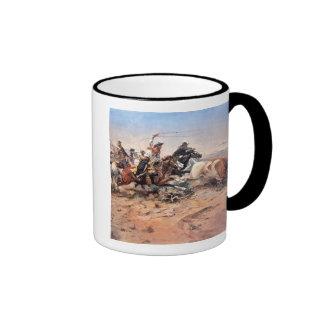 Cowboys roping a steer, 1897 (oil on canvas) ringer coffee mug