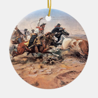 Cowboys roping a steer, 1897 (oil on canvas) christmas ornament