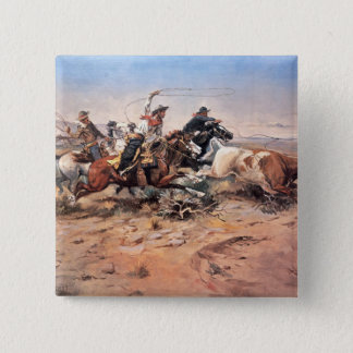 Cowboys roping a steer, 1897 (oil on canvas) pinback button