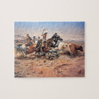 Cowboys roping a steer, 1897 (oil on canvas) jigsaw puzzles