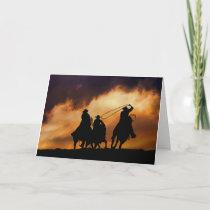 Cowboys Roping at Sunset Blank Card
