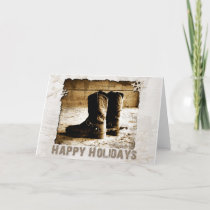 Cowboy's Rustic Boots Christmas Greeting Holiday