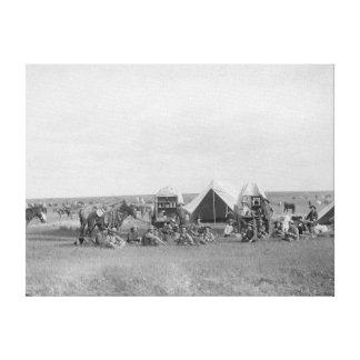 Cowboys Sitting around Chuckwagon Photograph Canvas Print