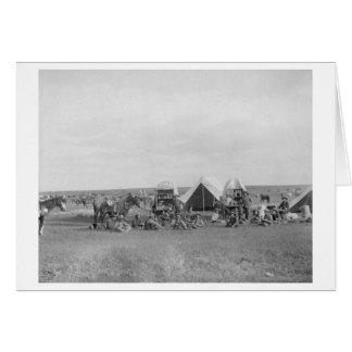 Cowboys Sitting around Chuckwagon Photograph Card