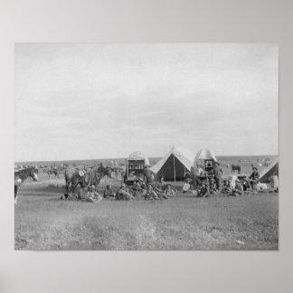 Cowboys Sitting around Chuckwagon Photograph Poster