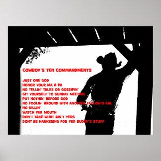 Cowboy's Ten Commandments Print