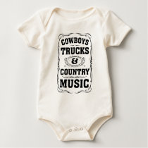Cowboys Trucks And Country Music Baby Bodysuit