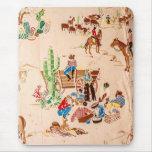 Cowboys - Vintage Wallpaper - Wild West Mouse Pad