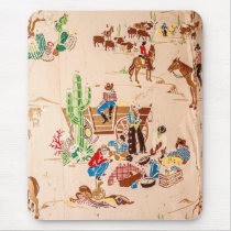 Cowboys - Vintage Wallpaper - Wild West Mouse Pad