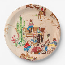 Cowboys - Vintage Wallpaper - Wild West Paper Plate
