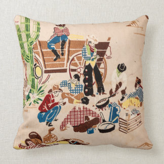 Cowboys - Vintage Wallpaper - Wild West Throw Pillow