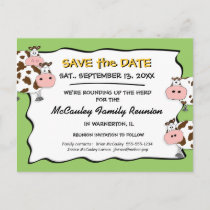 Cowdacious Apple Green Fam Reunion Save the Date Announcement Postcard