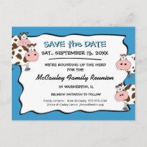 Cowdacious Big Sky Blue Fam Reunion Save the Date Announcement Postcard