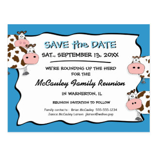 Cowdacious Big Sky Blue Fam Reunion Save the Date Postcard