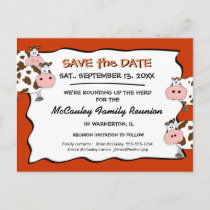 Cowdacious Paprika Family Reunion Save the Date Announcement Postcard