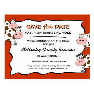 Cowdacious Paprika Family Reunion Save the Date Postcard