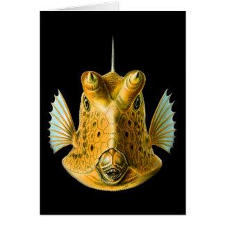 Cowfish Largo-de cuernos Tarjeta De Felicitación