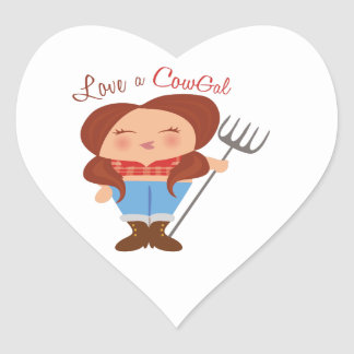 CowGal Pegatina Corazón Personalizadas