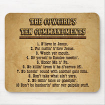 Cowgirl 10 Commandments MOUSEPAD