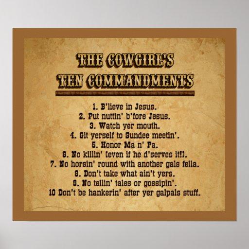 Cowgirl 10 Commandments Poster