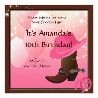 "Cowgirl 16th Birthday Party Boot Scottin Custom 5.25"" Square Invitation Card"