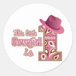 Cowgirl 1st Birthday Classic Round Sticker